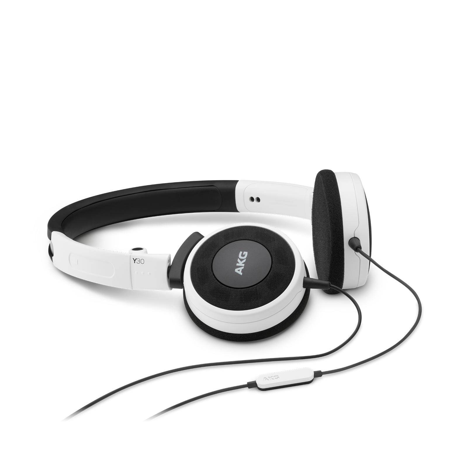 Y 30 - White - Stylish, uncomplicated, foldable headphones with 1 button universal remote/mic - Hero