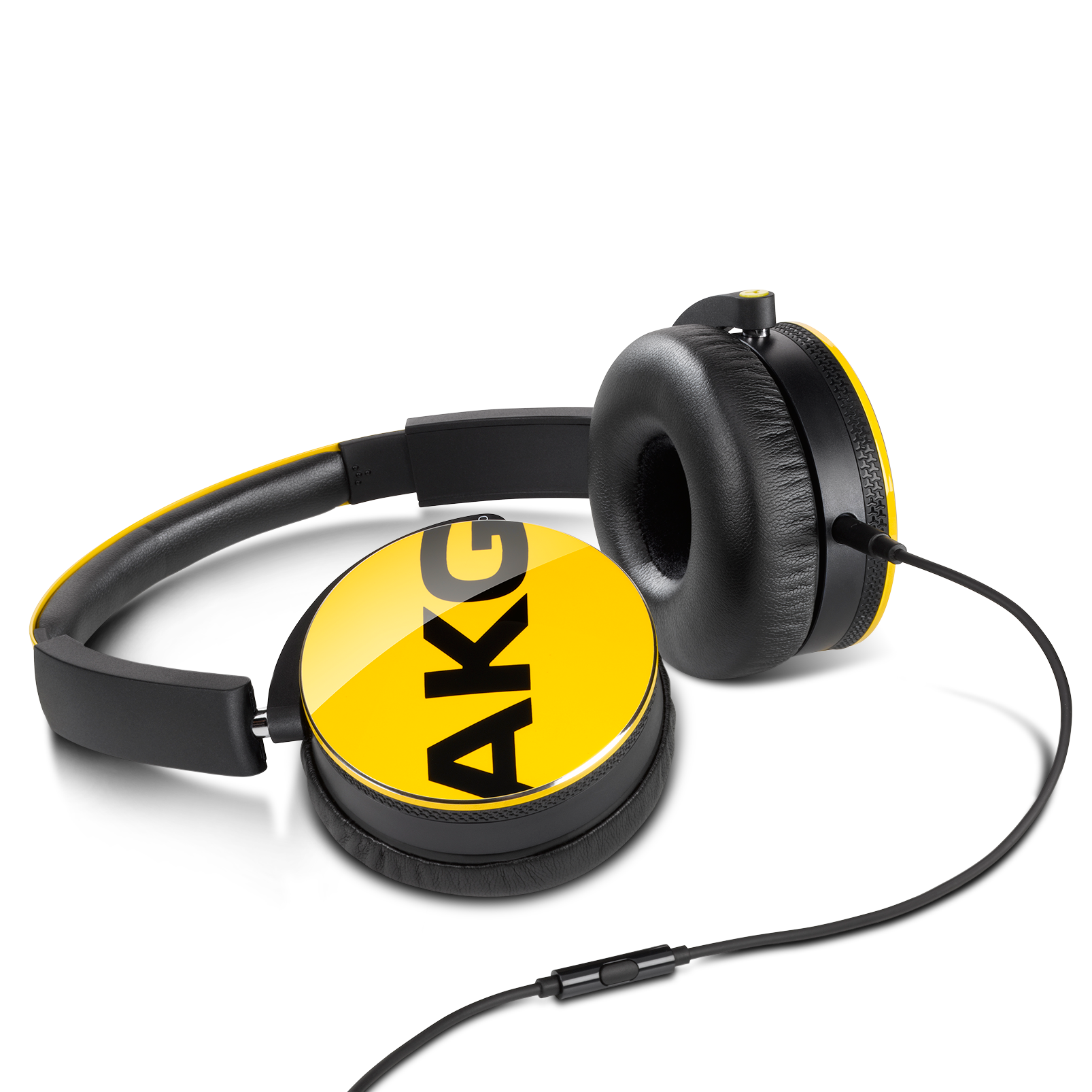 Y50 - Yellow - On-ear headphones with AKG-quality sound, smart styling, snug fit and detachable cable with in-line remote/mic - Detailshot 2
